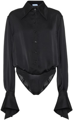 Thierry Mugler Satin blouse bodysuit