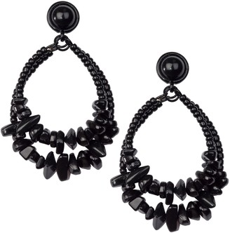 Linea by Louis Dell'Olio Double Hoop Beaded Nugget Earrings