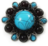 Avalaya Vintage Turquoise Stone Floral Corsage Brooch (Antique Silver Tone)