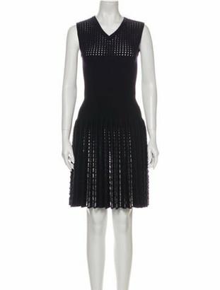 Alaia Lace Pattern Knee-Length Dress Blue