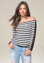 Bebe Logo Stripe & Lace Top