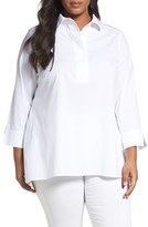 Foxcroft Plus Size Women's Stretch Cotton Tunic