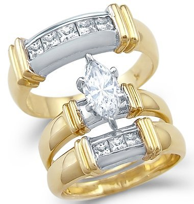 Size- 8.5 - Solid 14k 2 Tone Gold Marquise CZ Engagement Wedding His and Hers Trio Three Piece Ring Set 1.5 ct