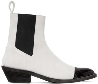 Haider Ackermann White Cowboy Chelsea Boots