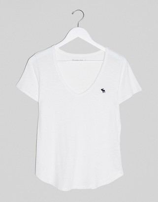 Abercrombie & Fitch v neck t-logo t-shirt in white