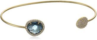 Tai Montana Blue Pave Disc Cuff Bracelet