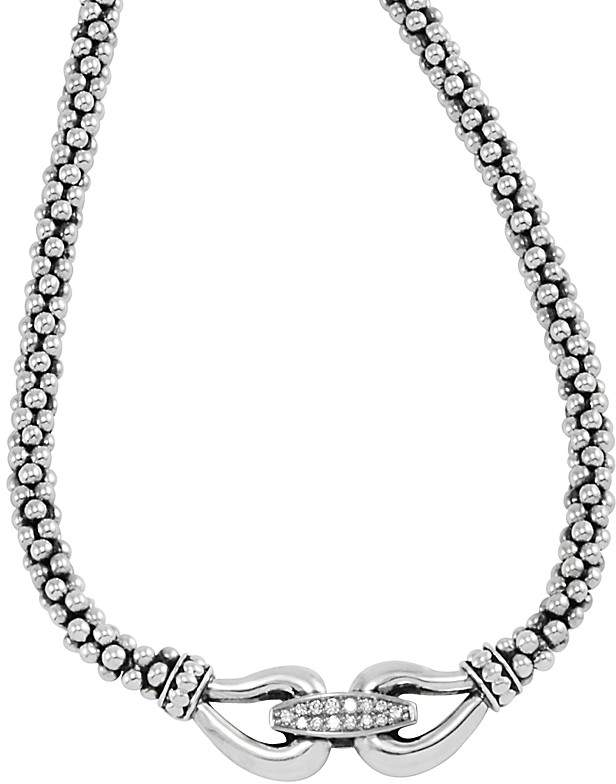"""Lagos Derby Sterling Silver Necklace with Diamonds, 16"""""""