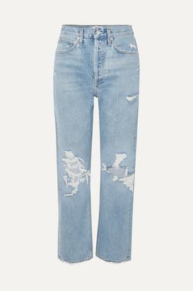 A Gold E Agolde AGOLDE - '90s Distressed High-rise Boyfriend Jeans - Mid denim