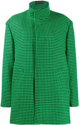 Balenciaga Houndstooth-Pattern A-Line Coat