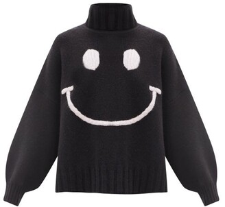 JoosTricot Smiling Face-embroidered Merino Wool-blend Sweater - Black