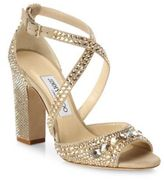 Jimmy Choo Carrie 100 Crystal-Embellished Suede Block Heel Sandals