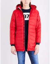 Canada Goose Ladies Red Exposed Zip Camp Hooded Quilted Shell Jacket