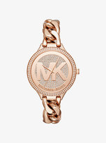 Michael Kors Slim Runway Pave Rose Gold-Tone Chain-Link Watch