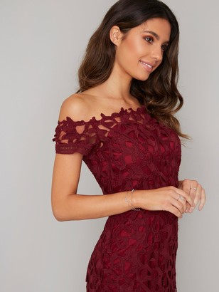Chi Chi London Anna Lace Bardot Midi Dress - Burgundy