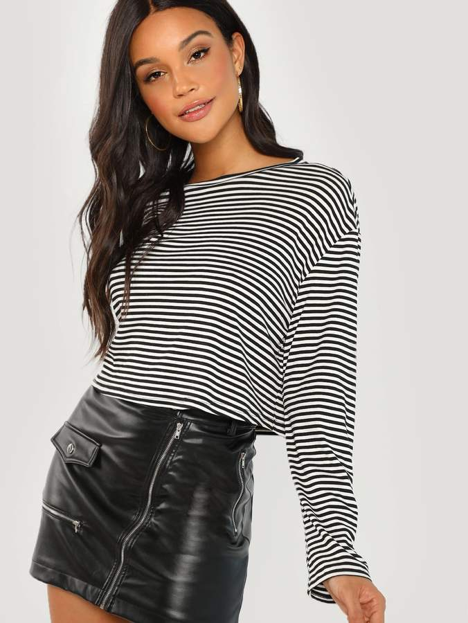 8c02ab84a7 Women's Long Sleeve Black And White Striped Shirt - ShopStyle
