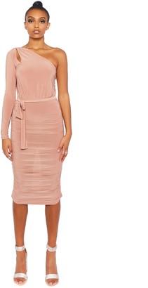 Public Desire Uk Slinky Ruched One Shoulder Midi Dress