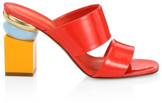 Salvatore Ferragamo Lotten Geometric-Heel Patent Leather Mules