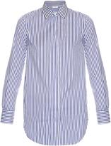 Brunello Cucinelli Embellished striped cotton-blend shirt