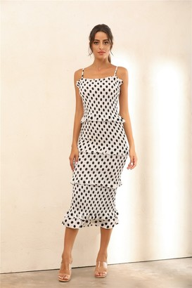 Miss Floral Polka Dot Ruffle Trim Shirred Bodycon Midi Dress In White