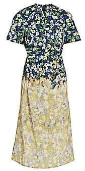 Rokh Women's Gathered Cutout Floral Silk Dress