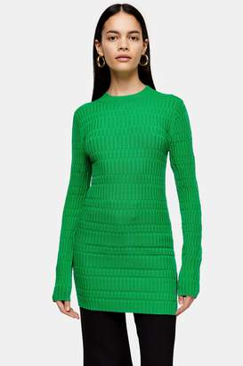 Topshop Green Crew Knit Tunic Top