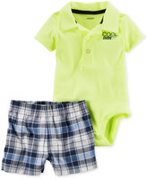 Carter's 2-Pc. Polo Bodysuit & Plaid Shorts Set, Baby Boys (0-24 months)