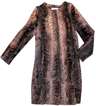 Oscar de la Renta Brown Mongolian Lamb Coats