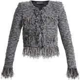 Balmain Collarless frayed tweed jacket