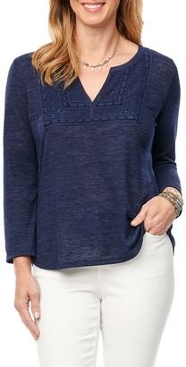 Democracy Split Neck Eyelet Panel Top