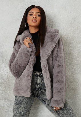 Missguided Tall Grey Shawl Collar Faux Fur Coat