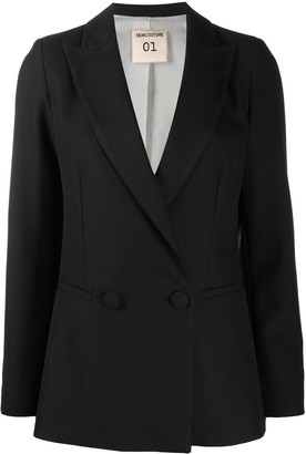 Semi-Couture Double-Breasted Tailored Blazer