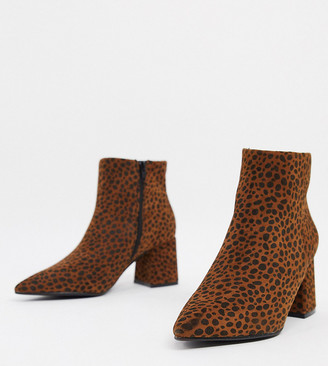 Simply Be wide fit heeled boot in leopard print