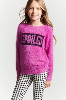FOREVER 21 girls Girls Fuzzy Knit Graphic Sweater (Kids)