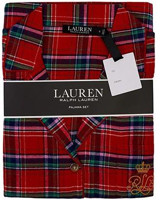 Lauren Ralph Lauren Brushed Twill Long Sleeve Notch Collar Long Pants Pajama Set (Red Plaid) Women's Pajama Sets