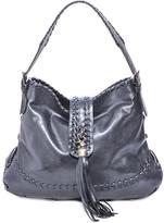 Carla Mancini Graphite Metallic Whipstitch Tassel Leather Hobo