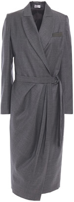 Brunello Cucinelli Bead-embellished Wool-twill Midi Wrap Dress