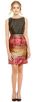 Ivanka Trump Embellished Boat Neck Satin/Brocade A-Line Dress