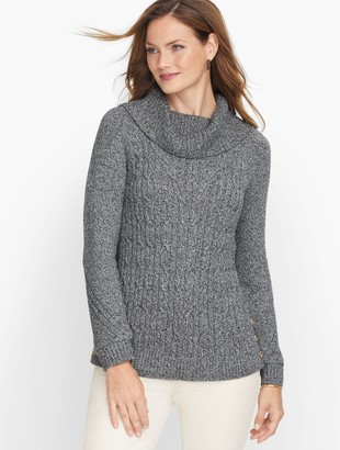 Talbots Cable Cowlneck Sweater - Marl