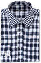 Sean John Men's Classic Fit Tan and Blue Print Dress Shirt