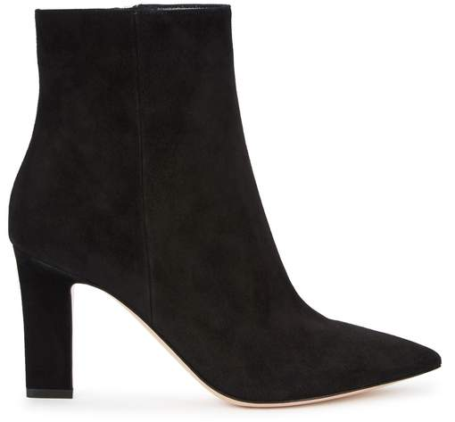 Gianvito Rossi Daryl 85 Black Suede Ankle Boots