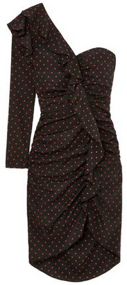 Veronica Beard Leona One-shoulder Ruffled Ruched Polka-dot Silk Dress