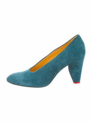 Celine Suede Pointed-Toe Pumps Teal Suede Pointed-Toe Pumps