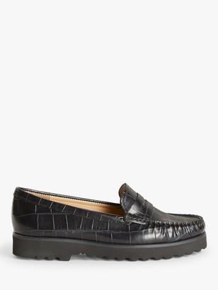 John Lewis & Partners Oslo Leather Slip On Platform Moccasins, Black