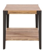 Danya B Modern Industrial End/Side Table in Distressed Wood Finish With Metal