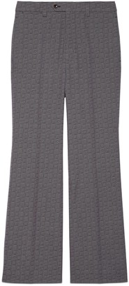 Gucci G hexagon grisaille wool flare pant