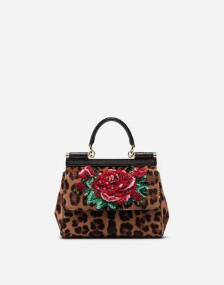 Dolce & Gabbana Medium Sicily Bag In Leopard Print Embroidered Pony