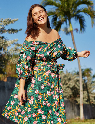 ELOQUII Off the Shoulder Puff Sleeve Fit and Flare Dress