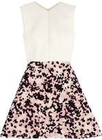 DELPOZO Neoprene And Flocked Organza Mini Dress - Off-white