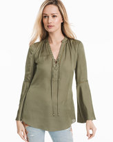 White House Black Market Military Green Henley Lace-Up Blouse