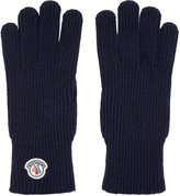 Moncler Navy Knit Gloves